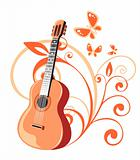 guitar and floral pattern