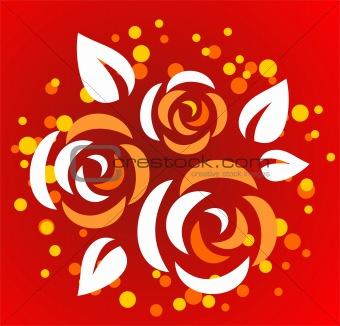 three stylized roses