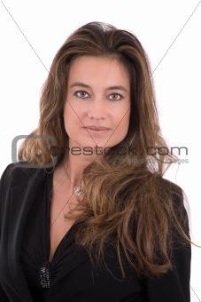Beautiful brunette on white
