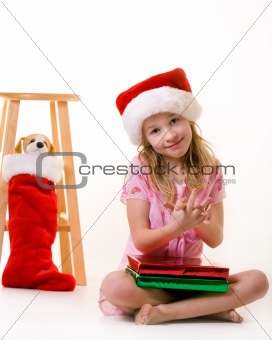 little girl on christmas