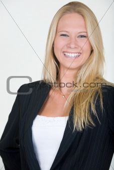 Laughing blond woman