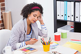 Interior designer looking at colour wheel