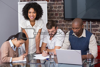 Concentrated business team in meeting