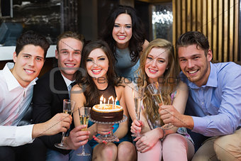 Attractive friends celebrating a birthday