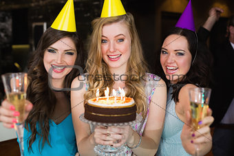 Attractive friends celebrating a birthday