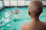 Little boys swimming in the pool