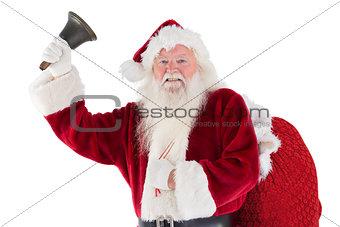 Santa rings his bell to camera
