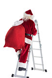 Santa steps up a ladder