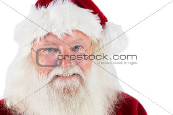 Santa looks over his glasses