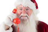 Santa on his red phone
