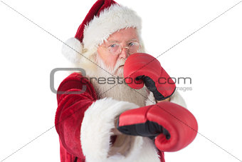 Santa Claus punches with his right
