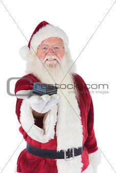Santa shows a little box
