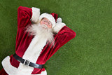Santa lies, sleeps and has a nice dream
