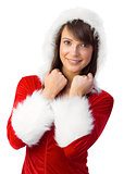 Cute brunette in santa claus smiling at camera