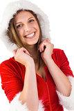 Smiling brunette in santa outfit