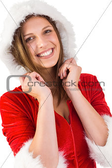 Smiling brunette in santa outfit