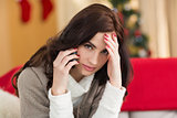 Brunette on the phone on christmas day