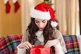 Brunette looking in gift bag at christmas