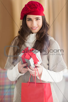 Smiling brunette holding gift and shopping bags