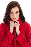 Portrait of a stylish brunette in red coat