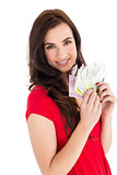 Cheerful brunette holding her cash