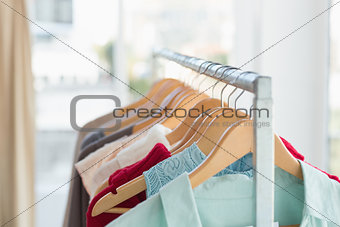 Close up of clothing rail