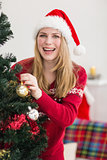 Smiling woman hanging christmas decorations on tree