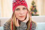 Portrait of a pretty blonde in winter hat