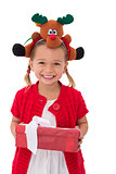 Cute little girl wearing rudolph headband