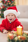 Festive little boy smiling at camera