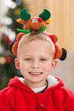 Festive little boy smiling at camera
