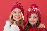 Festive little girls smiling at camera
