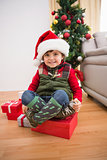 Cute festive little boy smiling at camera