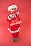 Cute little boy in santa costume