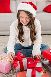 Festive little girl with gifts