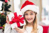 Festive little girl holding a gift