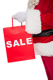 Santa claus holding sale bag
