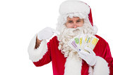 Santa claus pointing his cash
