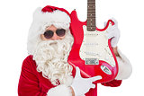 Cool santa showing electric guitar