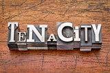 tenacity word in  metal type