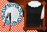 Empty Blackboard Plate and Cutlery