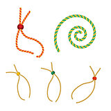 vector set of five gold christmas gift strings shaped eyelet for tag with beads