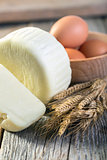Georgian cheese, eggs and corn.