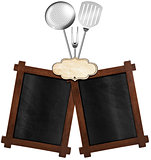 Two Blackboards with Kitchen Utensils