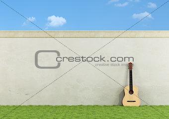 Classic guitar in a garden