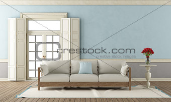 Blue and gray classic living room