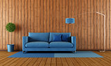 Wooden and blue living room