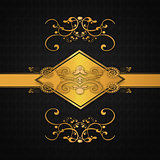 Dark background with gold floral