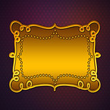 Golden plate on purple background