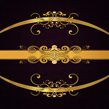 Golden ribbons on dark background